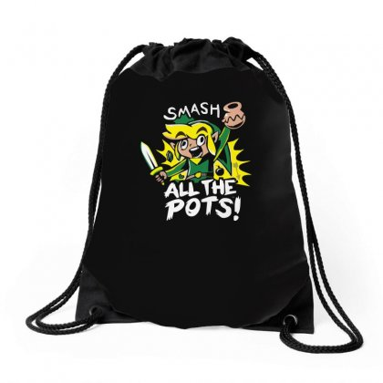 Smash All The Pots Clearance Drawstring Bags Designed By H4syim