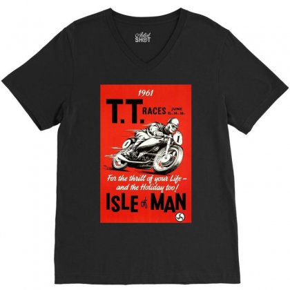 Vintage Tt Race Poster, Ideal Gift Or Birthday Present V-neck Tee Designed By H4syim