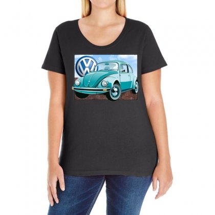 Vw Beetle Sky, Ideal Birthday Gift Or Present Ladies Curvy T-shirt Designed By H4syim