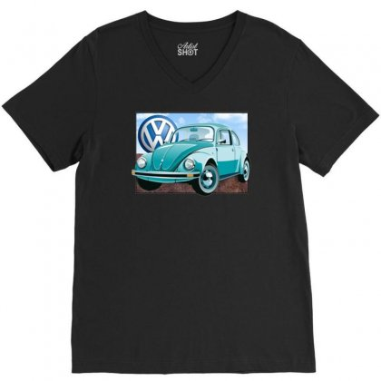 Vw Beetle Sky, Ideal Birthday Gift Or Present V-neck Tee Designed By H4syim