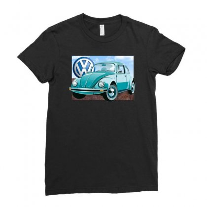 Vw Beetle Sky, Ideal Birthday Gift Or Present Ladies Fitted T-shirt Designed By H4syim