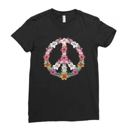 Flower Peace Ladies Fitted T-shirt Designed By Sengul
