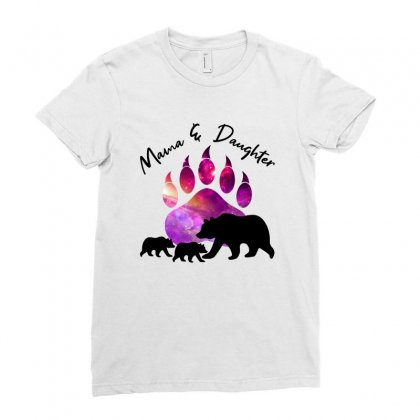 Mama And Daughter Bear Ladies Fitted T-shirt Designed By Nurbetulk
