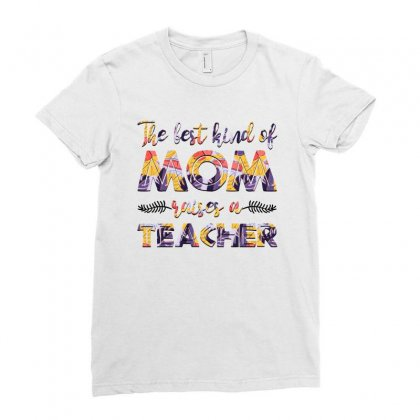Teacher Mom Floral Ladies Fitted T-shirt Designed By Sengul