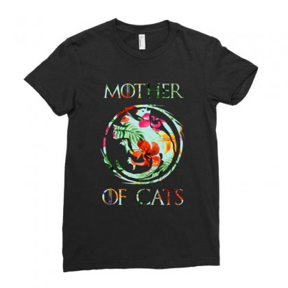 Mother Of Cats Floral Ladies Fitted T-shirt Designed By Sengul