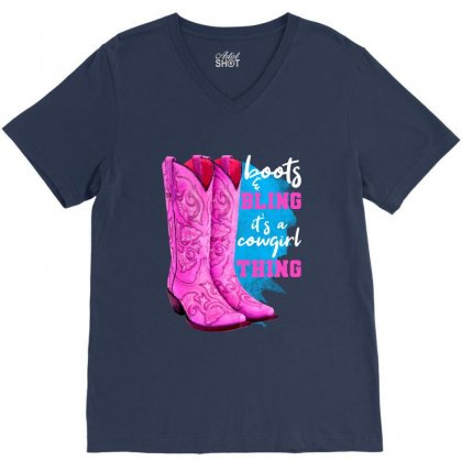Boots And Bling It's A Cowgirl Thing For Dark V-neck Tee Designed By Nurbetulk