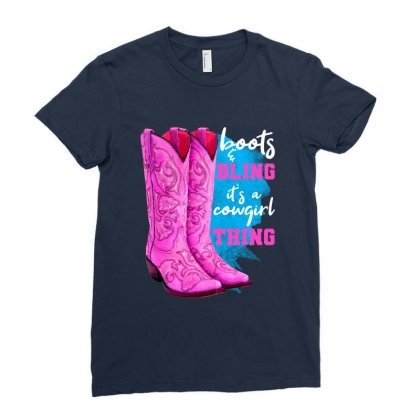Boots And Bling It's A Cowgirl Thing For Dark Ladies Fitted T-shirt Designed By Nurbetulk