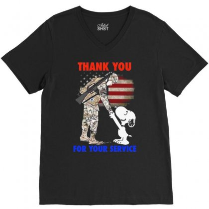 Thank You For Your Service V-neck Tee Designed By Vanitty