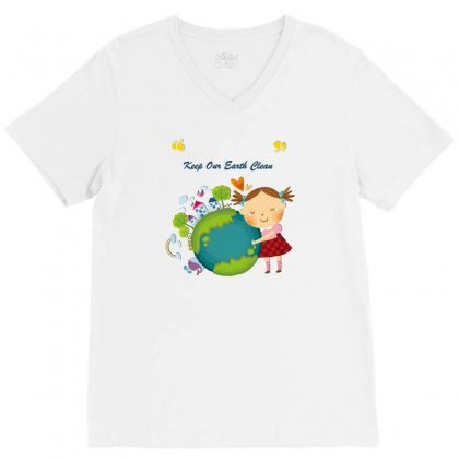 Keep Our Earth Clean V-neck Tee Designed By Perception