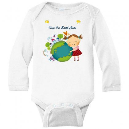 Keep Our Earth Clean Long Sleeve Baby Bodysuit Designed By Perception