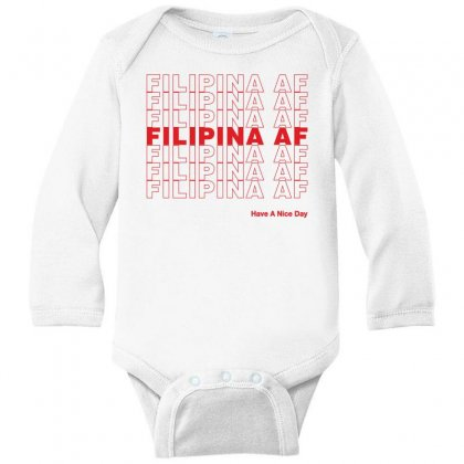 Filipina Af Have A Nice Day Long Sleeve Baby Bodysuit Designed By Toweroflandrose