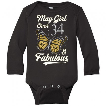 May Girl Over 34 And Fabulous Long Sleeve Baby Bodysuit Designed By Artees Artwork