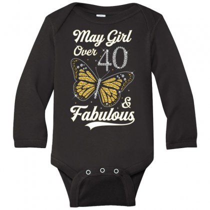 May Girl Over 40 And Fabulous Long Sleeve Baby Bodysuit Designed By Artees Artwork