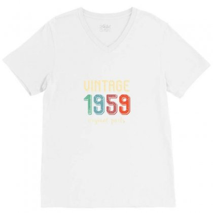 Vintage 1959   60th Birthday V-neck Tee Designed By Arum