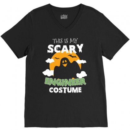 This Is My Scary Engineer Costume Tshirt V-neck Tee Designed By Hung