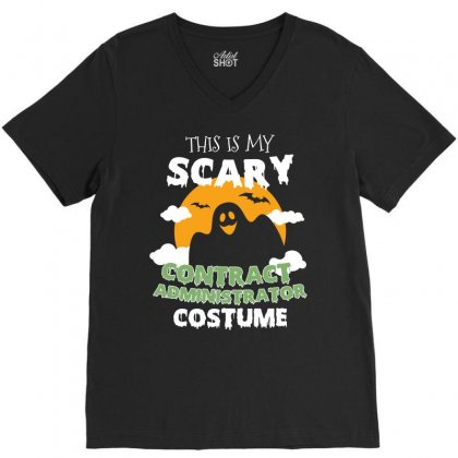 This Is My Scary Contract Administrator Costume Tshirt V-neck Tee Designed By Hung