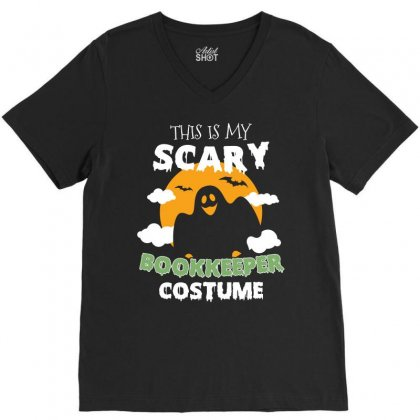 This Is My Scary Book Keeper Costume Tshirt V-neck Tee Designed By Hung