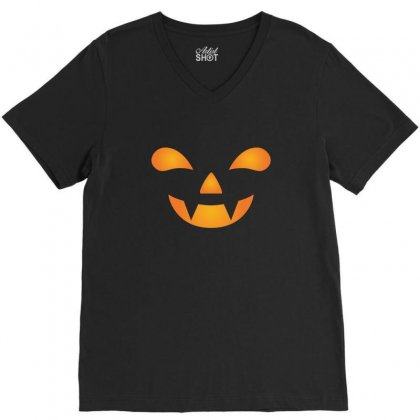 Sihouette Of Halloween Pumpkin Face Tshirt V-neck Tee Designed By Hung