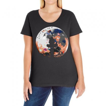 Fighter On The Moon Ladies Curvy T-shirt Designed By Frizidan