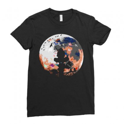 Fighter On The Moon Ladies Fitted T-shirt Designed By Frizidan