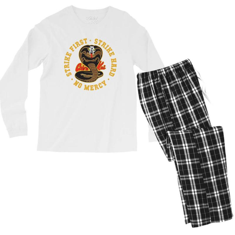 Cobra Kai   Strike First   Strike Hard   No Mercy Men's Long Sleeve Pajama Set | Artistshot