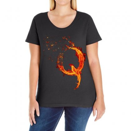 Q For Conspiracy Theorist   Red Ladies Curvy T-shirt Designed By Frizidan