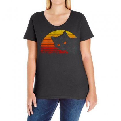 Eighties Style Cat Ladies Curvy T-shirt Designed By Frizidan