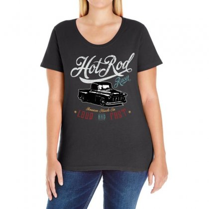 Hot Rod Racer Ladies Curvy T-shirt Designed By Frizidan