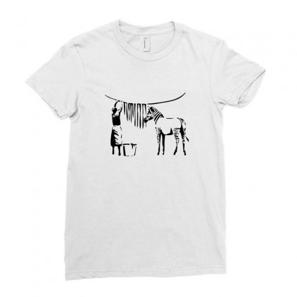 Zebra Banksy Ladies Fitted T-shirt Designed By Tee Shop