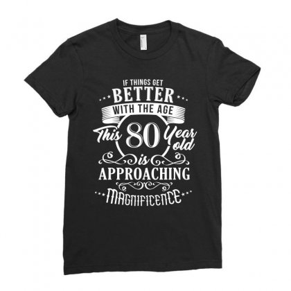 Funny 80th Birthday Design Ladies Fitted T-shirt Designed By Cogentprint