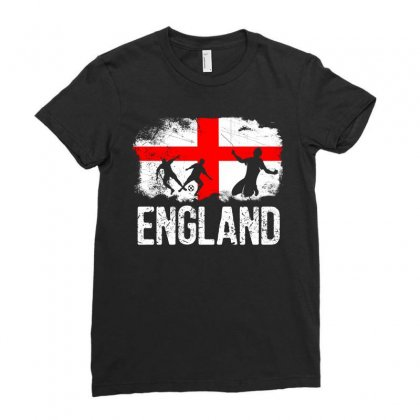 England Flag Soccer Designs Ladies Fitted T-shirt Designed By Cogentprint