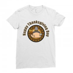 Happy Thanksgivings Day Ladies Fitted T-shirt Designed By Cogentprint
