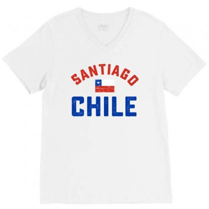 Chilean Flag Tee V-neck Tee Designed By Cogentprint