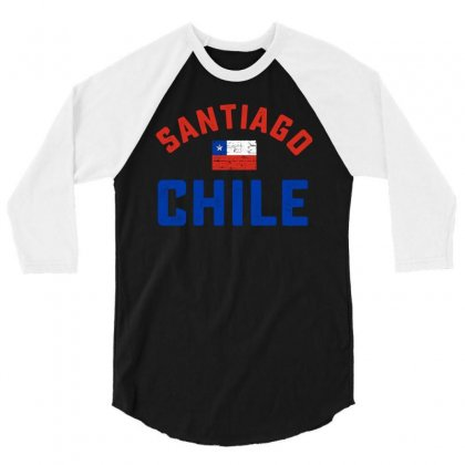 Chilean Flag Tee 3/4 Sleeve Shirt Designed By Cogentprint