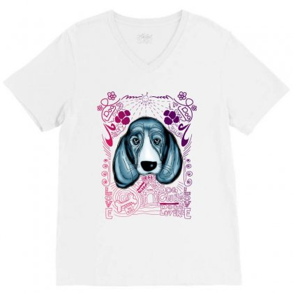 Sad Dog V-neck Tee Designed By Lorex-ads