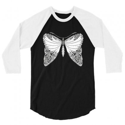 Butterfly Illustration 3/4 Sleeve Shirt Designed By Zentura