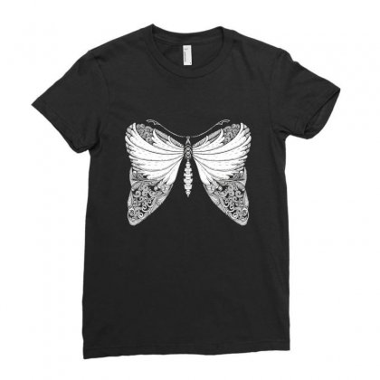 Butterfly Illustration Ladies Fitted T-shirt Designed By Zentura