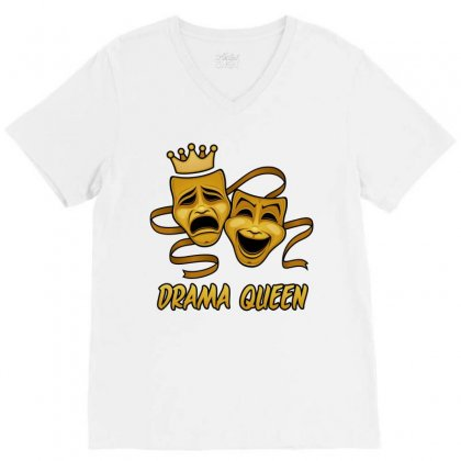 Drama Queen Comedy And Tragedy Gold Theater Masks V-neck Tee Designed By Fizzgig