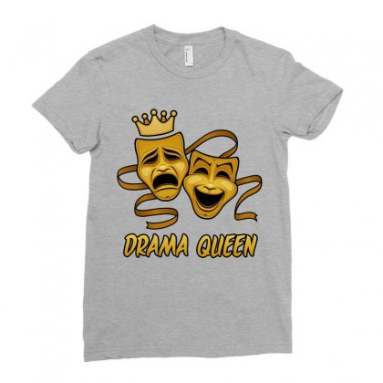 Drama Queen Comedy And Tragedy Gold Theater Masks Ladies Fitted T-shirt Designed By Fizzgig