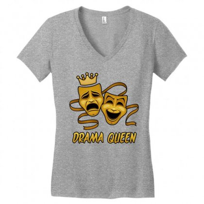 Drama Queen Comedy And Tragedy Gold Theater Masks Women's V-neck T-shirt Designed By Fizzgig