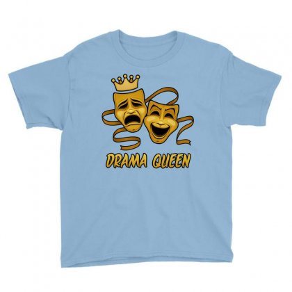 Drama Queen Comedy And Tragedy Gold Theater Masks Youth Tee Designed By Fizzgig