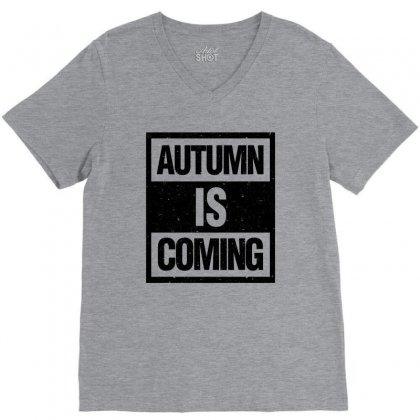 Autumn Is Coming V-neck Tee Designed By Blqs Apparel