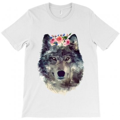 Watercolor Wolf T-shirt Designed By Nurbetulk