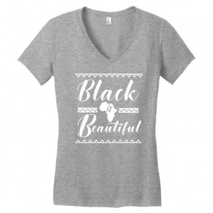 Africa Melanin Poppin Black Queen Women's V-neck T-shirt Designed By Cogentprint