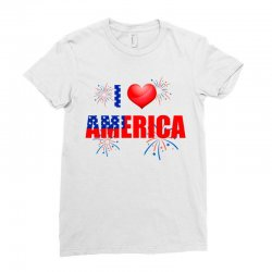 I Love America Independent Ladies Fitted T-shirt Designed By Cogentprint