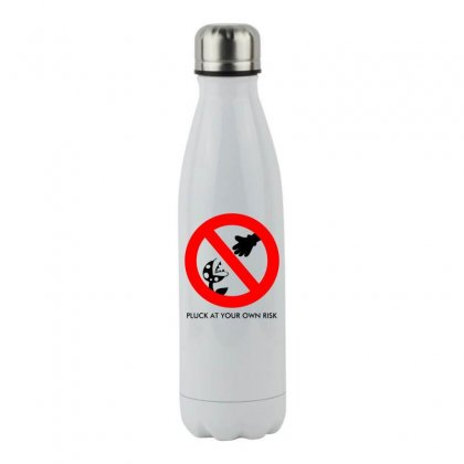Pluck At Your Own Risk Stainless Steel Water Bottle Designed By Specstore