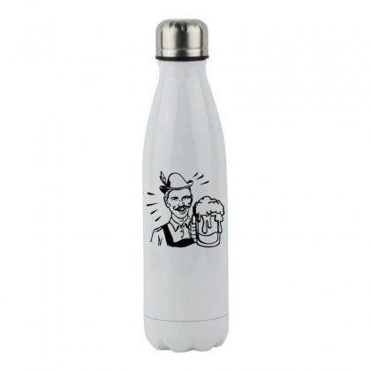 Retro Guy With Beer Stainless Steel Water Bottle Designed By Specstore