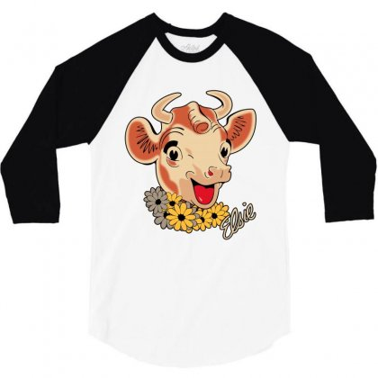 Elsie The Cow 3/4 Sleeve Shirt Designed By Bamboholo