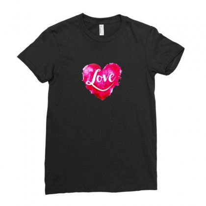 Heart Ladies Fitted T-shirt Designed By Ham4