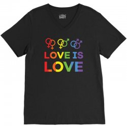 love is love shirt   love rainbow gay lesbian lgbt pride t shirt V-Neck Tee | Artistshot